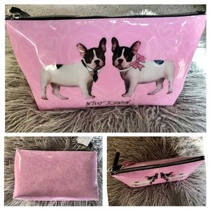 Betsey Johnson Frenchie Bulldog Pink Cosmetic Case